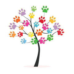 Tree with colorful paw prints