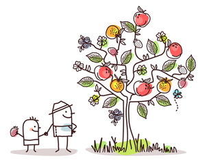 Cartoon Characters and Summer Tree