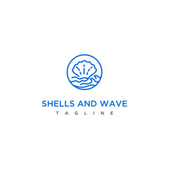 shells and wave logo design concept.