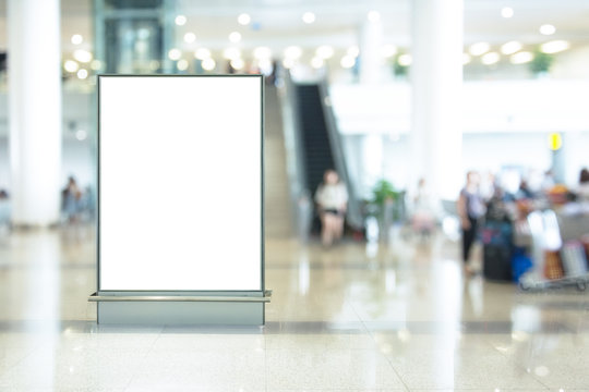 Blank advertising billboard in the Airport and background blur