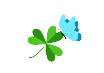 A blue butterfly on a three-leafed clover. Day of holy celebration. Design of a flat icon.