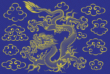 Illustration of mythological animal - a chinese dragon on the background with clouds