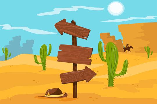 Old wooden road sign standing on desert landscape background vector Illustration, cartoon style