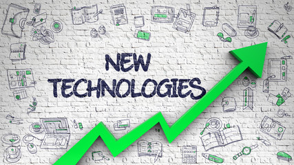 New Technologies Drawn on White Brick Wall.