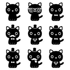Cat in a tuxedo. Set.