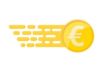 Gold euro coin. Vector illustration.