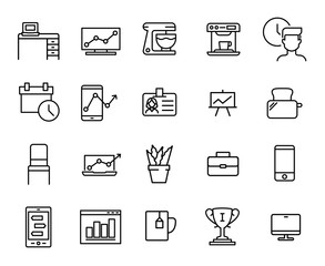 Simple collection of office tools related line icons.