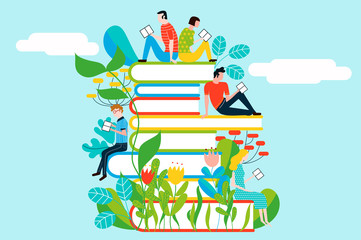 Happy people reading on tower of books in a colorful garden - vector colorful illustration isolated on background