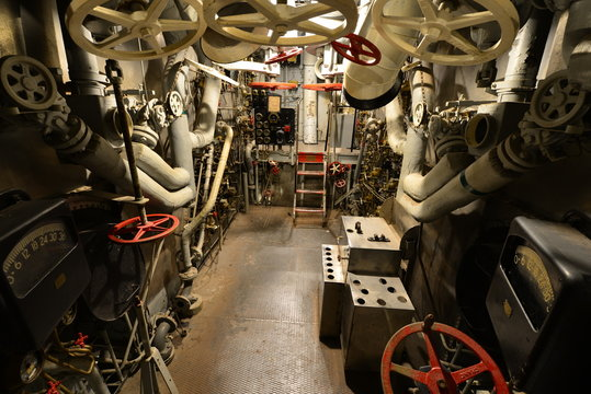 The Engine room of an American World war two warship.