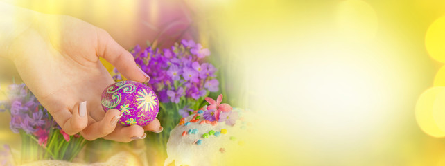 Spring flowers,  Easter cake and easter eggs. Easter colorful  banner.