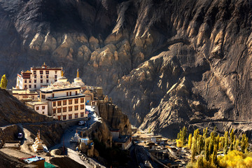 Lamayuru temple in Leh ladakh on the hill in mountain valley