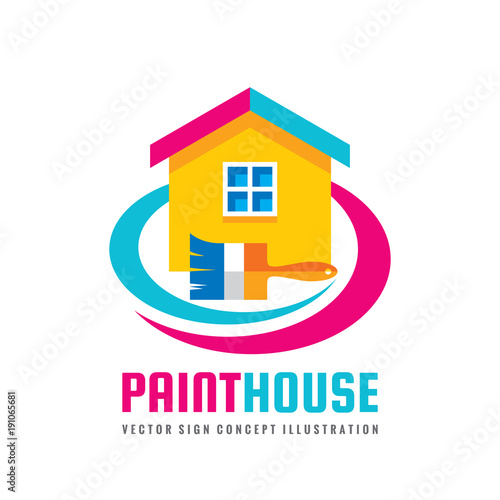 paint house concept logo template vector illustration in flat