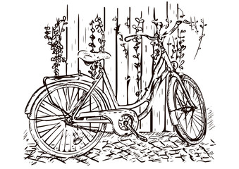 Bicycle hand drawing, sketch, coloring, monochrome black and white picture, vector illustration