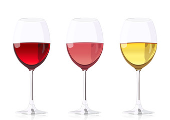 Set glass goblets for wine, vector realistic drawing. Wineglass with red wine, wineglass with rose wine and wineglass with white wine, isolated on white background