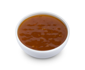 Sweet and sour sauce isolated on white background