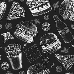 Burgers seamless pattern. Hand drawn vector illustration. Fast food, junk food pattern. American food. Burgers restaurant menu design. Engraved style image.