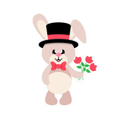 cartoon cute bunny in hat and tie with flowers