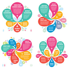 Infographic elements template business concept banners for presentation, brochure, website and other design project. Abstract petals in pastel colors. Infograph creative layout vector set.