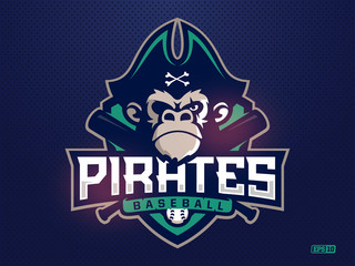 Modern professional emblem pirates monkey for baseball team
