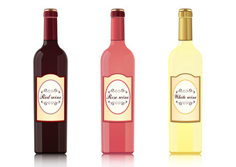 Set of bottles of different types of wines with labels, vector realistic drawing. Bottle of red wine, bottle of rose wine, bottle of white wine, isolated on white background