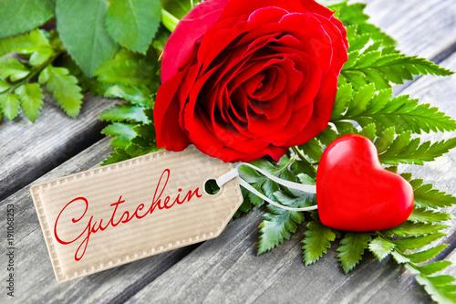 Rose und Herz - Gutschein\