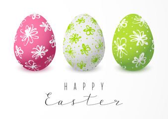 Easter greeting card with color floral eggs