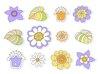 colored flowers stylized cheerful child's drawing, seamless vect