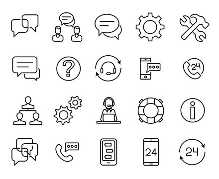 Simple collection of support service related line icons.