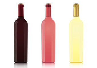 Set of bottles of different types of wines without labels, vector realistic drawing. Bottle of red wine, bottle of rose wine, bottle of white wine, isolated on white background