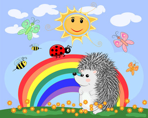 Lovely cartoon hedgehog near a seven-colored rainbow and a ladybird on a spring, summer day