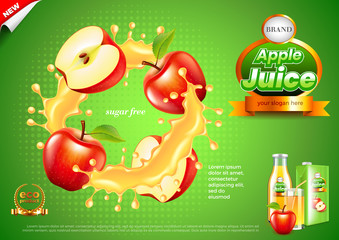 Juice ads. Apples in splashes vector background