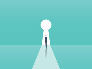 Business opportunity and career ambition, success vector concept with businessman walking towards door in shape of keyhole.