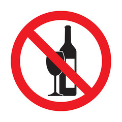 No drinking sign, No alcohol sign, isolated on white background, vector illustration.