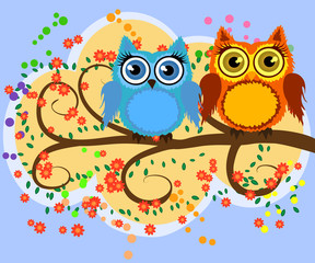 A family of bright, cartoon, cute, colorful owls on a flowering tree branch, parents, children, chicks