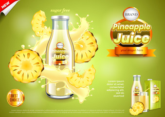 Juice ads. Bottle with pineapple slices and splashes vector background