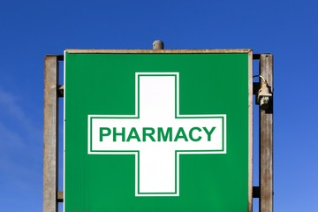 Pharmacy symbol on a panel