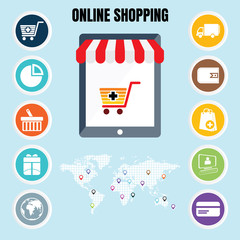 Online Shopping flat icon