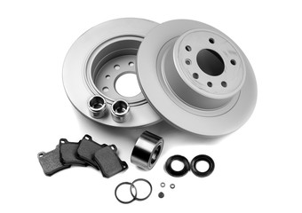 Brake discs, springs, brake pads, pistons. Isolate