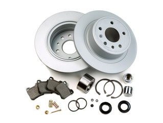 Brake discs, springs, pads, pistons. Isolate on white