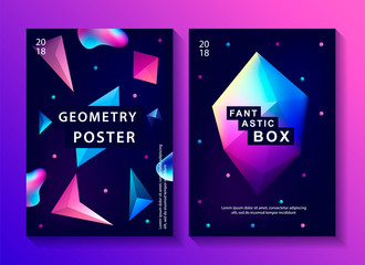 Set of abstract trendy cosmic posters