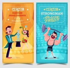 Strongman and snake charmer on circus banner