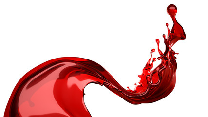 Isolated Wine Splash On A White Background. 3d illustration, 3d rendering.