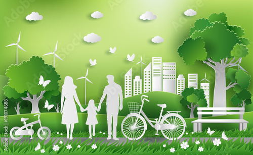 Family Enjoy Fresh Air In The Park Eco Green City Save The