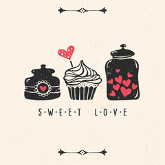 Valentine's day greeting card with heart, cupcake, jar, lettering and other decorative elements. Vector hand drawn illustration.