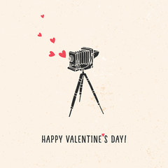 Valentine's day greeting card with old vintage camera, hearts and lettering. Vector hand drawn illustration.