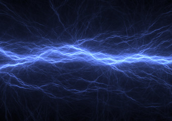 Blue electrical lightning background, abstract plasma abstract