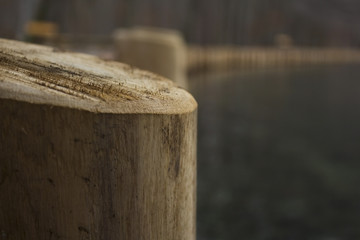 Wooden poles by the lake shore on a cold day