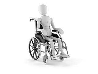 White dumy on wheelchair