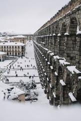 Aqueduct of Segovia with snow