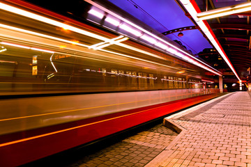 Moving tram at Chaplin Square Station Prague, Czech republic.